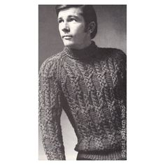 Mens Sweater Knitting Pattern Braided Cable Raglan Sweater Knit Turtleneck Pullover Sweater Pattern PDF Instant Download - K73 by DigitalPatternShop on Etsy