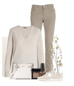 """Cream and Taupe"" by jlgoodman ❤ liked on Polyvore featuring Jacob Cohёn, Bottega Veneta, Kate Spade, NARS Cosmetics, Pier 1 Imports, OPI and Geox"