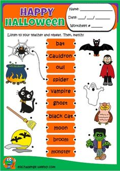 Halloween set - eslchallenge Halloween Vocabulary, Halloween Worksheets, Halloween Activities, Halloween Kids, Halloween Themes, English Activities For Kids, English Teaching Resources, Learning English For Kids, Vowel Activities