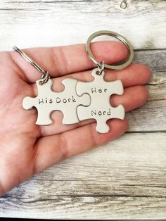 These hand stamped puzzle keychains with his dork on one and her nerd on the second, would be a great quirky and unique gift to give that awesome couple in your life! Can't ever figure out what to get