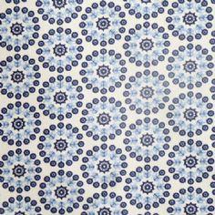 Lisbonne Extra Wide Acrylic Oilcloth in Indigo