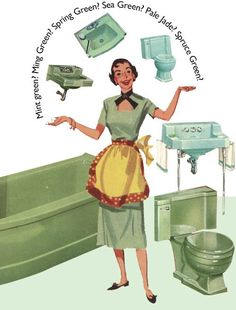 The color green in kitchen and bathroom sinks, tubs and toilets - from 1928 to 1962 - Retro Renovation Room Paint Colors, Bathroom Colors, Vintage Sink, Vintage Art, Vintage Style, Modern White Bathroom, Retro Renovation, Bathroom Pictures, Bathroom Ideas