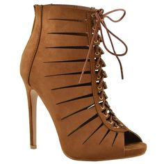 17743a4d85af Womens Dress Shoes Cutout Ankle Booties Crisscrossed Lace Tan ** Check out  this great product