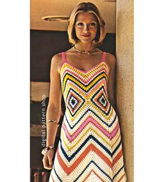 Womens Crochet Dress Pattern Vintage Chevron Maxi Dress Crochet Pattern Zig Zag Dress PDF Instant Download- C89 by DigitalPatternShop on Etsy https://www.etsy.com/listing/208463941/womens-crochet-dress-pattern-vintage