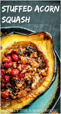 Vegan Holiday Recipes: Acorn Squash with Brown Sugar, Walnuts & Cranberries (ME-consider using coconut oil in place of butter and maple sugar in place of brown sugar) Veggie Dishes, Vegetable Recipes, Food Dishes, Vegetarian Recipes, Cooking Recipes, Healthy Recipes, Side Dishes, Cranberry Recipes Dinner, Cranberry Recipes Healthy