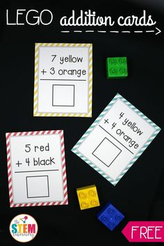 Awesome LEGO Addition Cards! What a fun, hands-on way to teach kids about adding. Perfect for kindergarten or first grade  math.