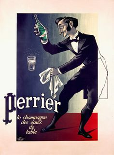 Perrier, ' The Champagne of Table Waters'  Fine Art Vintage Giclee Print