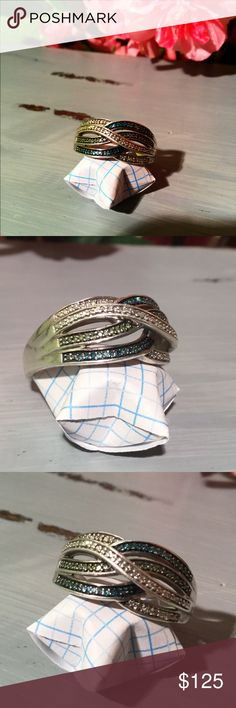 1/5 Ct. Blue Green Diamond Ring Sterling Kays 1/5 Ct. Blue Green Diamond Ring Sterling Size 10 minor scratching as I did wear this. Still in great condition. Kay Jewelers Jewelry Rings