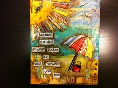 8x10 Mixed media canvas Happiness is a shell by heartfeltByRobin, $26.00