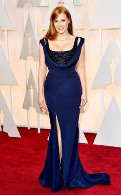 Jessica Chastain in a navy sparkling Givenchy Haute Couture gown.