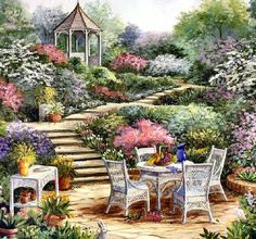 Gazebo in the Garden - Counted cross stitch pattern in PDF format by Maxispatterns on Etsy Painting Tools, Painting & Drawing, Watercolor Paintings, Dream Garden, Garden Art, Belle Image Nature, Pintura Colonial, Step By Step Painting, Peaceful Places