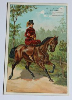 GH Curtis CLOTHIER Springfield MA-Lady Riding SIDE SADDLE-Antique Trade Card
