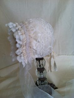 Newborn Baby Girl Bonnet Lace Bonnet Newborn by CoutureParfait, $19.99