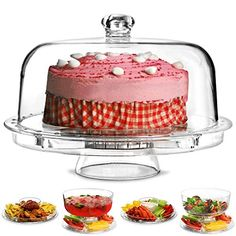 Compare Amazon price for Multifunctional 6 in 1 Cake Stand and Dome   dine@drinkstuff Cake Dome Punch Bowl Salad Bowl Chip \u0026 Dip Server Serving Stand ...  sc 1 st  Pinterest & 17 Baci Milano - Evergreen Cake Stand - Clear - 24.5cm   Cake ...