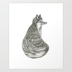 Fox- Feathered. Art Print by Jess Polanshek - $17.00