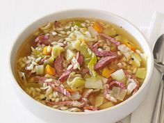 Corned Beef and Cabbage Soup from FoodNetwork.com. For St. Patty's Day dinner. This is SO delicious!!