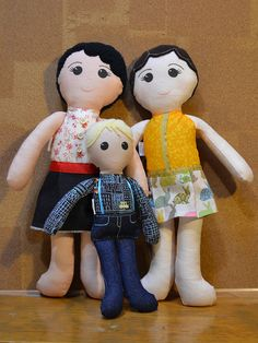 Custom Family of Dolls: 2 Parents, 1 Child