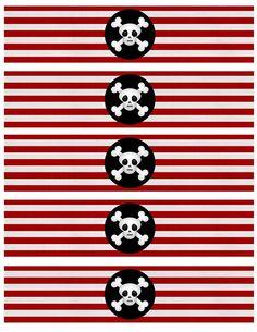 10 imprimibles gratis para tus botellas   Baballa en stylelovely. Pirate Day, Pirate Birthday, Pirate Theme, Mermaid Birthday, Boy Birthday, Decoration Pirate, Teach Like A Pirate, Mickey E Minie, Water Party