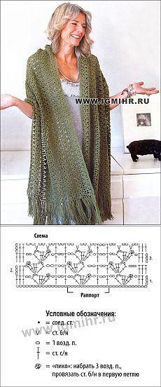 Палантин цвета хаки с ажурным узором, от финских дизайнеров. Крючок