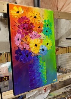 Original Abstract Acrylic Painting Colorful Flowers Modern Palette by Osnat Abstract Acrylic Paintings Acrylic Art, Acrylic Paintings, Art Paintings, Original Paintings, Painting Techniques, Painting Inspiration, Art Lessons, Flower Art, Art Drawings
