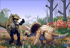 tepuitrouble: #drawdinovember obligatory t.rex vs triceratops