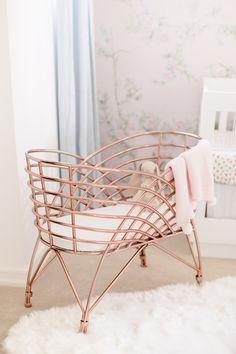 rose-gold-baby-bassinet Baby Girl Nursery Decor, Nursery Design, Baby Bassinet, Baby Cribs, Nursery Chandelier, Vine Girls, Nursery Storage, Nursery Modern, Rose Gold