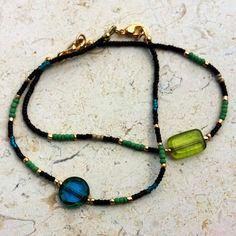 Green Czech glass bracelet by MelissaHeldDesigns on Etsy, $20.00