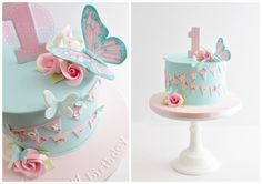 Butterflies, flowers and bunting birthday cake for a gorgeous little girl celebr. - Cakes - first birthday cake-Erster Geburtstagskuchen 1st Birthday Cake For Girls, Butterfly Birthday Cakes, Baby Birthday Cakes, Butterfly Cakes, Baby Cakes, Birthday Parties, Butterflies, Birthday Bunting, Birthday Diy
