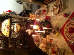 Christmas Tablescape with Red Spode Dinnerware