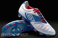 Umbro Football Boots - Umbro Geometra Pro FG - Firm Ground - Soccer Cleats - White-Brilliant Blue-True Red