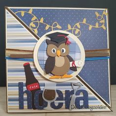 Marianne Design Cards, Owl Card, Graduation Cards, Punch Art, Kids Cards, Birthday Wishes, Making Ideas, Banners, Applique
