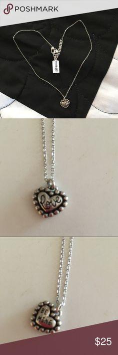 "Brighton Valentine Heart Necklace 18"" silver chain, reversible, never worn Brighton Jewelry Necklaces"