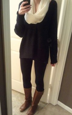 outfit of the day:  sweater from Free People  leggings from American Apparel  boots from Steve Madden  scarf from Gilly Hicks