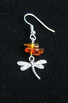 Etsy $9.50 + 2.10 ship (from Olean, New York, ready in 1 bus. day) = Dragonfly in Amber Earrings Outlander by CraftySquirrelDesign, options: fishhook, ballpost, or clip-on.