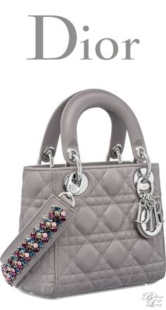 Brilliant Luxury * Dior Autumn 2016 ~ Mini Lady Dior bag with cannage topstitching in Montaigne Grey lambskin