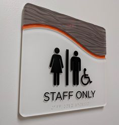 ADA interior restroom ID signage. Built and installed by signgeek. Entrance Signage, Directional Signage, Wayfinding Signage, Signage Design, Neon Signs For Sale, Cool Neon Signs, Neon Bar Signs, Neon Sign Repair, Christmas Stage Design