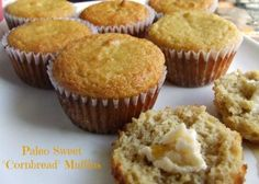 "Paleo Sweet ""Cornbread"" Muffins  http://cassidyscraveablecreations.com/2014/02/paleo-sweet-cornbread-muffins.html"