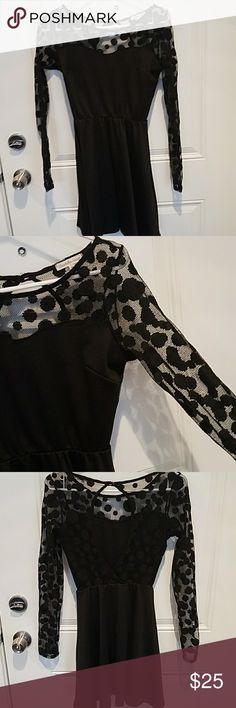 ??CHAROLETTE RUSSE?? BLACK DRESS WITH OPEN BACK?? Super cute black dress with lace polka dots and and open back !! Perfect for any occasion Charlotte Russe Dresses