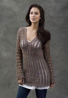 "Talca Lace Tunic designed by Kim Rutledge, sizes up to 56 1/2"" bustline. Crochet pattern free on Caron.com"