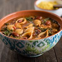This low-fat, vegan version of the traditional Italian pasta and beans soup is as thick and delicious as the original.