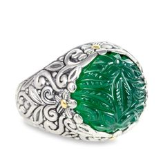 """Carved Green Onyx Ring Set in Sterling Silver & 18K Gold Accents """"Kase 