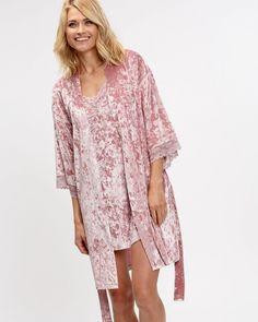 Robes - Velvet Kimono at La Vie En Rose - in pink or black Scalloped Lace, Lace Trim, Kimono, Cover Up, Chiffon, Tunic Tops, Velvet, Satin, Elegant