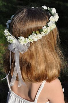 White silk Hydrangea and Rose hair wreath by Hollysflowershoppe on Etsy!