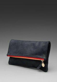 Foldover clutch, Clare Vivier. #womensfashion #clutch #leather