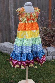 The Pinwheel Dress in Annie - Boutique Rainbow Twirl Dress Size 18 months, 2t, 3t, 4t, 5t and Girls Size 6/6X, 7, 8. $45.00, via Etsy.