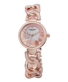 Rose Gold & Diamond Woven Link Bracelet Watch | zulily