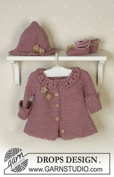 Crochet, Baby Set: cardigan, hat and shoes. Free pattern from DROPS Design,