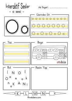 İnteraktif o sesi etkinliği Alphabet Worksheets, Kindergarten Worksheets, Alphabet For Kids, Preschool Education, Primary School, Handwriting, Periodic Table, Reading, Writing