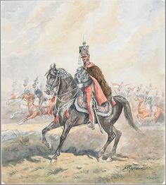 S** Pajaczkowsky (20th Century), Polish POLISH OFFICER AND HIS TROOPS MARCHING TO BATTLE, watercolours