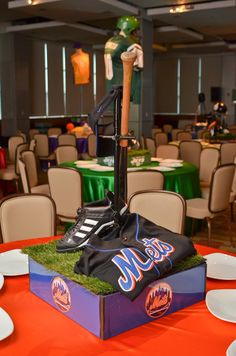 Bar Mitzvah & Bat Mitzvah Decor & Design: Mets baseball theme Centerpiece by MMEink Event Design & Productions. mmeink.com. Call us to learn how we can help you with your next event: 877.885.0705